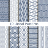 Set of ten lineal patterns Stock Images