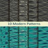 Set of ten modern patterns Stock Images