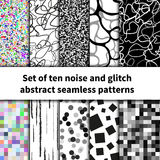 Set of ten noise and glitch seamless patterns Royalty Free Stock Photo