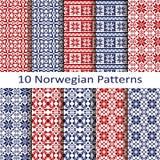 Set of ten norwegian patterns Royalty Free Stock Photo