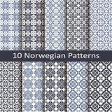 Set of ten norwegian patterns Royalty Free Stock Image