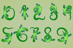 Set of ten  numbers like lizards Stock Image