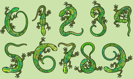 Set of ten  numbers like lizards Stock Images