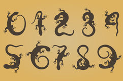 Set of ten  numbers like lizards Royalty Free Stock Image