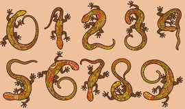 Set of ten  numbers like lizards Royalty Free Stock Photography