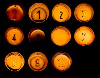 Set of ten old elevator buttons Stock Image