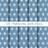 Set of ten patterns with lilies Stock Photos