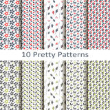 Set of ten pretty patterns. Set of ten vector pretty patterns Royalty Free Stock Images