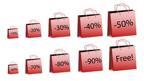 A set of ten red increasing sizes of paper bags for purchases with rope handles and discounts of 10, 20, 30, 40, 50, 60, 70, 80, 9. 0% and for free on a white vector illustration
