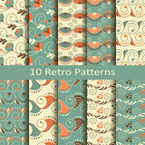 Set of ten retro patterns. Set of ten vector retro patterns vector illustration