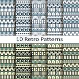 Set of ten retro patterns Stock Photo