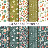 Set of ten school patterns Royalty Free Stock Photography