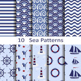 Set of ten sea patterns Stock Photo