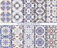 Set of ten seamless abstract patterns. Set of ten classic seamless patterns in shades of blue, brown and white. Decorative and design elements for textile Stock Images