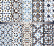Set of ten seamless abstract patterns. Set of ten classic seamless patterns in shades of blue, brown and white. Decorative and design elements for textile Stock Image