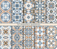 Set of ten seamless abstract patterns. Set of ten classic seamless patterns in shades of blue, brown and white. Decorative and design elements for textile, book Stock Image