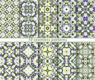 Set of ten seamless abstract patterns. Stock Photos