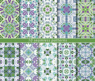 Set of ten seamless abstract patterns. Set of ten classic seamless patterns in shades of blue and green. Decorative and design elements for textile, book covers Stock Images