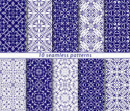 Set of ten seamless abstract patterns. Set of ten classic seamless patterns in shades of blue and white. Decorative and design elements for textile, book covers Royalty Free Stock Image