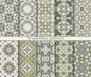 Set of ten seamless abstract patterns. Stock Photo