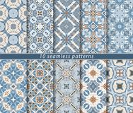 Set of ten seamless abstract patterns. Set of ten classic seamless patterns in shades of blue and white. Decorative and design elements for textile, book covers Stock Photography