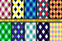 Set of ten seamless argyle patterns. Classic textile argyle prints for socks, sweaters, pants, jerseys & shorts. Traditional sports team uniform patterns for Royalty Free Stock Photos