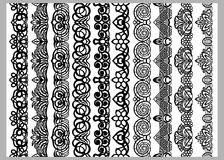 Set of ten seamless endless decorative lines. Indian decoration border  elements patterns in black and white colors.  Could be use Stock Photo