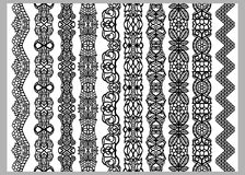 Set of ten seamless endless decorative lines. Indian Henna Border decoration elements patterns in black and white colors.  Could b Stock Photos