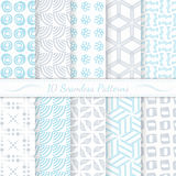 Set of ten seamless modern patterns. Stock Photos