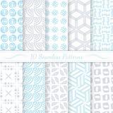 Set of ten seamless modern patterns. Stock Photos