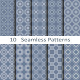 Set of ten seamless ornament patterns Royalty Free Stock Photography