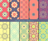 Set of ten seamless pattern with mandalas in beautiful colors. Vector background Royalty Free Stock Images