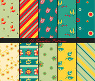 Set of ten seamless patterns with flowers and leaves in doodle style. Vector background Stock Photos