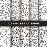 Set of ten seamless patterns. Retro memphis geometric line shapes. Retro fashion style 80s. Black and white abstract. Set of ten vector seamless patterns. Retro Stock Photos