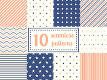 Set of ten seamless patterns. Royalty Free Stock Images
