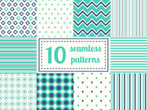 Set of ten seamless patterns. Royalty Free Stock Image