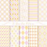 Set of ten seamless retro patterns. Royalty Free Stock Image
