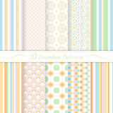 Set of ten seamless retro patterns. Stock Photos