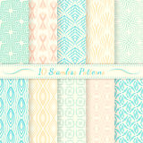 Set of ten seamless retro patterns. Simple lines, soft colors. Swatches of seamless patterns included in the file royalty free illustration