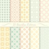 Set of ten seamless retro patterns. Royalty Free Stock Photos