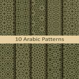 Set of ten seamless vector arabic traditional geometric patterns. design for covers, textile, packaging. Set of ten seamless vector arabic traditional geometric Stock Photos