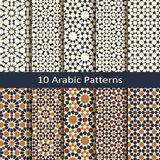 Set of ten seamless vector arabic traditional geometric patterns. design for covers, wrapping, textile, interior. Set of ten seamless vector arabic traditional royalty free illustration