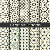 Set of ten seamless vector arabic traditional geometric patterns. design for covers, packaging, textile Royalty Free Stock Photography