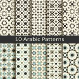Set of ten seamless vector arabic traditional geometric patterns. design for covers, packaging, textile. Set of ten seamless vector arabic traditional mosaic royalty free illustration
