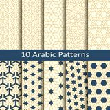 Set of ten seamless vector arabic traditional geometric patterns. design for covers, packaging, textile. Set of ten seamless vector arabic traditional mosaic vector illustration