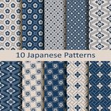Set with ten seamless vector japanese floral geometric paterns. design for textile, packaging, covers Stock Images