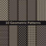 Set of ten seamless vector monochrome geometric patterns Royalty Free Stock Image
