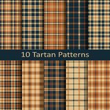 Set of ten seamless vector square scottish tartan patterns.design for covers, textile, packaging, christmas Royalty Free Stock Photo