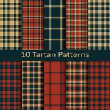 Set of ten seamless vector square scottish tartan patterns.design for covers, textile, packaging, christmas Stock Image