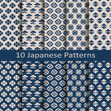 Set of ten seamless vector traditional japanese patterns. Set of ten seamless vector traditional blue japanese patterns Royalty Free Stock Images
